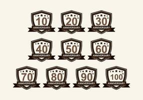Jahrestag Abzeichen Vektor-Pack