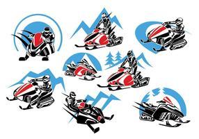 Set Winter Snowmobile Logo, Embleme, Abzeichen und Symbole vektor