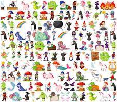 uppsättning fantasy karaktärer och fantasy tema vektor