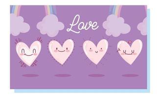 älskar romantiska hjärtan med regnbågar och moln vektor