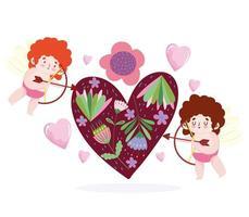 älskar små cupids som skjuter pilen i hjärtat vektor