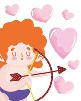 älskar söta cupid hjärtan vektor
