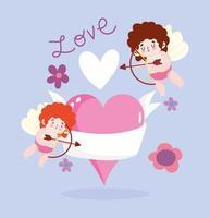 älskar bevingade cupids med hjärtan och blommor vektor