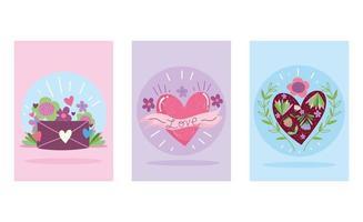 älskar romantiska hjärtan och postkuvert vektor