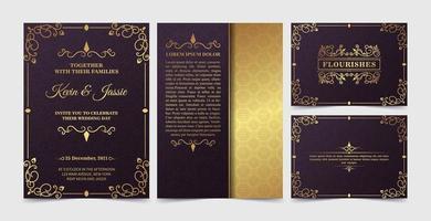 lyxig vintage gyllene inbjudningskortsmall vektor