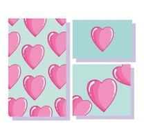 älskar romantiska hjärtan tecknad dekorationsbanderoller vektor