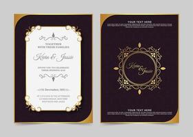 Luxus Vintage goldene Einladungskarte vektor