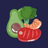 avokadoskiva, korv, broccoli och kött