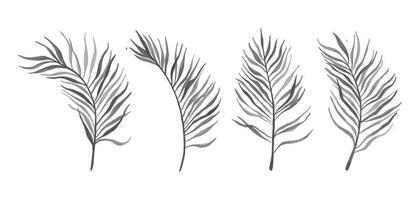 uppsättning blad akvarell