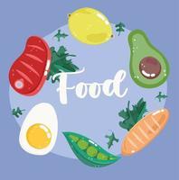 Fleisch, Avocado, Zitrone, Ei und Erbsen