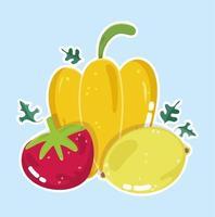 frische Bio-Lebensmittel. Pfeffer, Tomate und Zitrone
