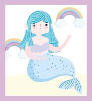 süße Cartoon blaue Meerjungfrau mit Regenbogen