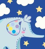 tecknad söt liten elefant med prickar i örat