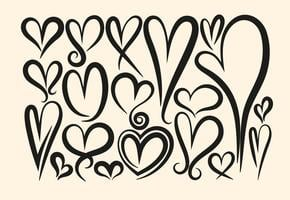Samling av vektor Hand Drawn Hearts