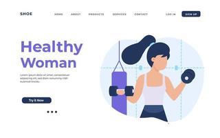 hälsosam kvinna träning tog upp en hantel