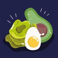 Avocado-Scheibe, gekochtes Ei und Salat