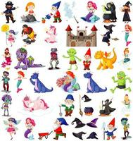 uppsättning fantasy karaktärer tema isolerad på vit bakgrund
