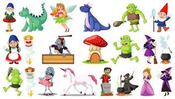 Fantasie-Zeichentrickfiguren auf weißem Hintergrund