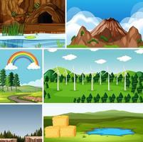 Sechs verschiedene Szenen im Cartoon-Stil der Natur