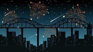stadsbild med firande fyrverkeri scen