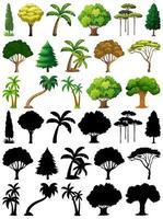 Satz von Pflanzen und Bäumen mit Silhouetten