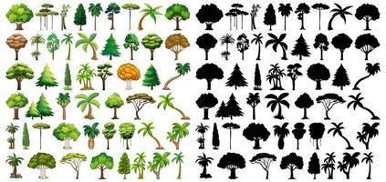 uppsättning växter och träd med silhuetter vektor