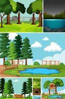 sex olika scener i naturset tecknad stil