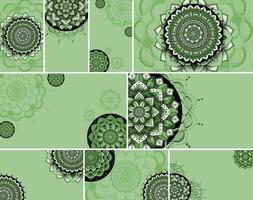 grön mandala design bakgrund set