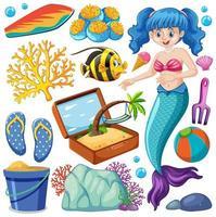 Satz von Meerestieren und Meerjungfrau Zeichentrickfigur vektor