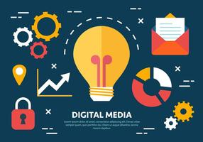Gratis Flat Digital Marketing Concept vektor