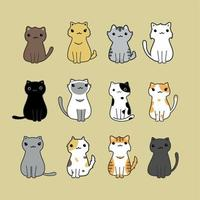 söta katter tecknad uppsättning