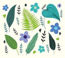 tropiska löv, lövverk och blommor vektor