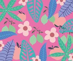 Naturhintergrund mit Blättern, Früchten und Blumen