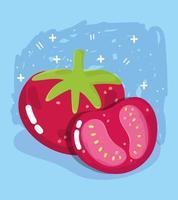 Gemüsekarte mit frischen Lebensmitteln. ganze und geschnittene Tomate