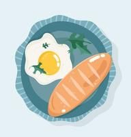 färsk frukost. stekt ägg och bröd