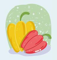 Gemüsekarte mit frischen Lebensmitteln. rote und gelbe Paprika