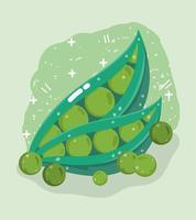 Gemüsekarte mit frischen Lebensmitteln. Erbsenschoten
