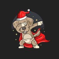 süßer Santa Mops tupfen vektor