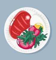Essen in Schüssel. Fleisch, Spiegeleier und Tomaten