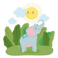 liten elefant i naturen vektor