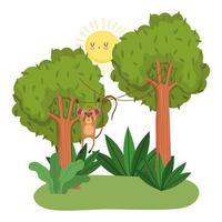 söt apa som hänger i träd vektor