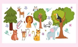 wilde Karikatur von Bäumen, Tieren und Waldnatur vektor