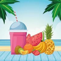 gefrorenes Getränk mit frischen Früchten vektor