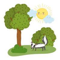söt skunk i träd och buskar vektor