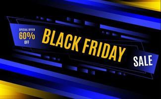 schwarze Freitag blaue und gelbe dynamische Streifen Design