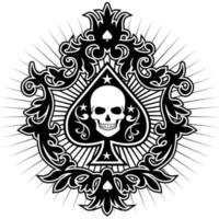 spadekortsemblem med skeletthuvud