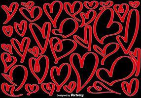 Vektor-Sammlung von Hand gezeichnet Herzen vektor