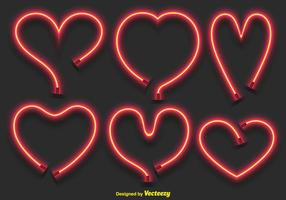 Vektor Neon Hearts Set