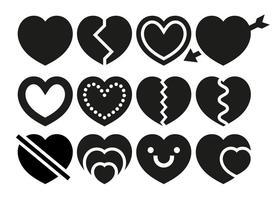 Vektor Hjärtan Ikoner Set