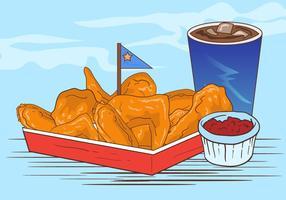 Buffalo Wings mit Sauce und Soft Drink